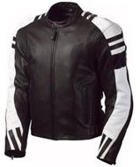 Stylish Black and White Motorcycle Biker Leather Jacket