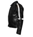 black soft leather jacket  with  white strip on i