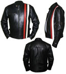 black soft leather jacket  with black & white str