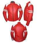 Stylish Mens Red &  white soft leather jacket