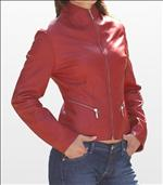 Ladies Stylish Red Color Soft Anline Leather Jacket