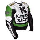 Kawasaki R Racing Motorcycle Leather Jacket Green White and Black Color