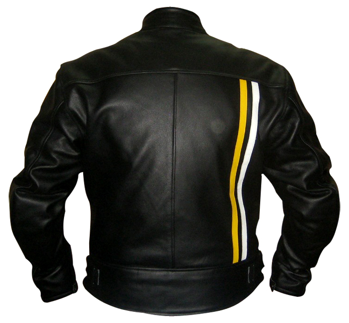 Black Colour Motorbike Leather Jacket with yellow white stripes backside