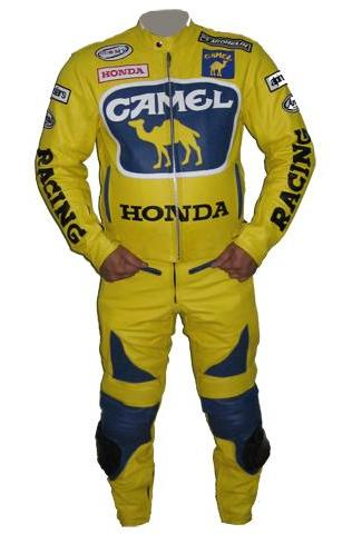 honda camel motorcycle racing leather suit yellow