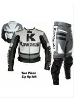 Kawasaki Grey Color Motorcycle Racing Leather Suit