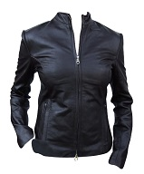 Ladies fashion leather jacket black color