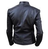 Ladies black color fashion leather jacket backside