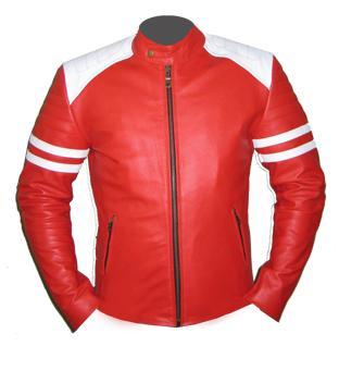 stylish mens red white soft leather jacket