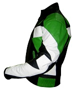 Motorbike leather jacket green black white colour sideview