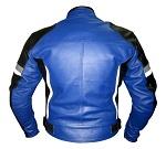 Motorbike leather jacket in blue black white grey colour backside