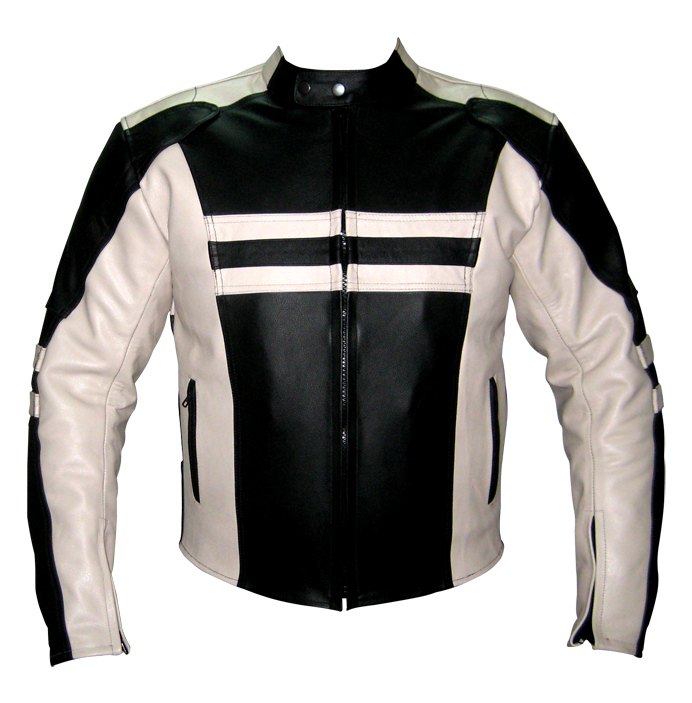 motorbike racing leather jacket black and white colour