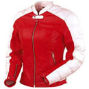 Red and White Color Ladies Motorcycle Leather Jacket