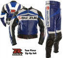 SUZUKI GSXR Motorcycle Racing Leather Suit Blue Color