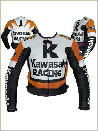 kawasaki r racing orange white black motorcycle leather jacket