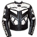 V ROD Black and White Color Motorcycle Leather Jacket