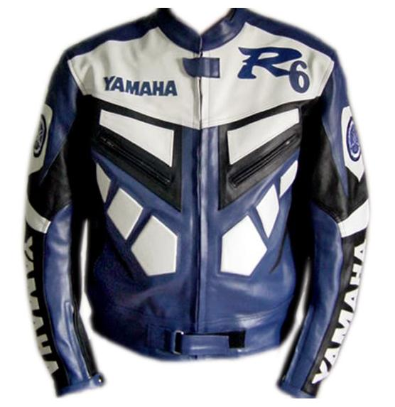 yamaha r6 blue and white color biker racing leather jacket