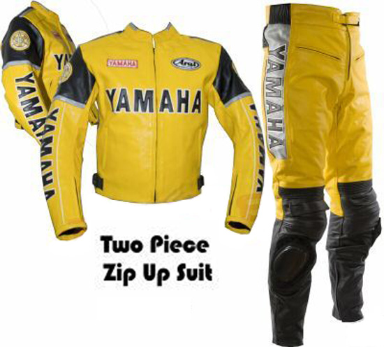 yamaha yellow color motorcycle  leather suit