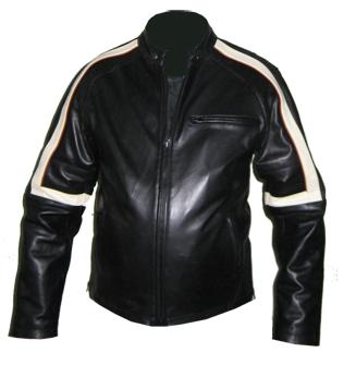 black soft aniline leather jacket with white stripe