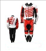 Stylish honda motorcycle cowhide leather suit in black red white color