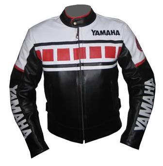 black and white color yamaha motorcycle leather jacket