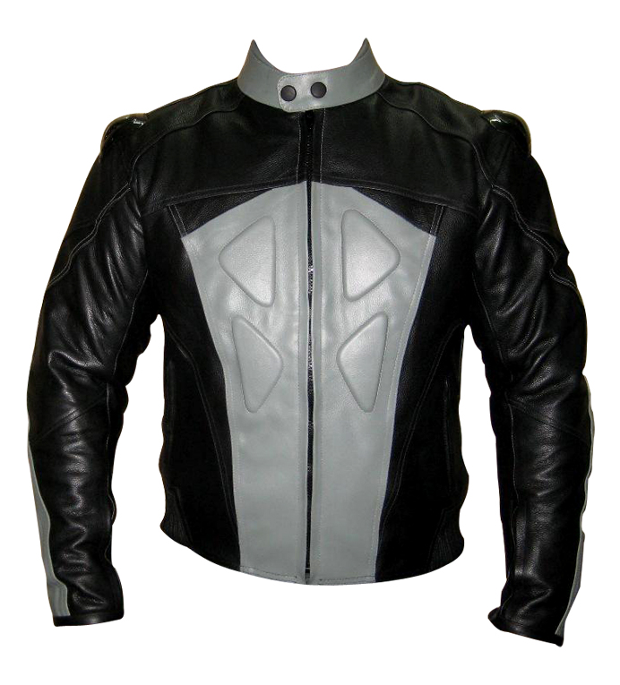 grey and black colour biker leather jacket with back hump