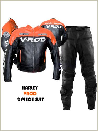 harley davidson v rod racing leather suit orange black color
