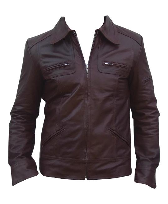 men s fashion soft aniline dark brown leather jacket