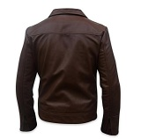 men s soft aniline dark brown leather jacket backside