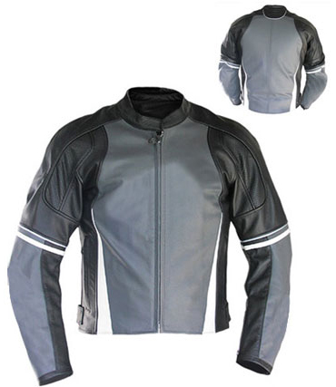 motorbike fashion leather jacket black and grey colour