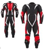 One 1 piece motorbike leather suit with full padding