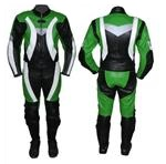 One 1 piece motorbike leather suit green black colour