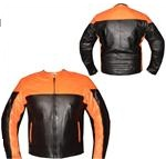 orange and black colour motorbike leather jacket backside