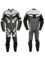 two 2 piece motorcycle leather suit black grey white colour
