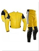 two piece motobike leather suit yellow black silver colour