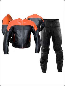 two piece orange black colour motorbike leather suit