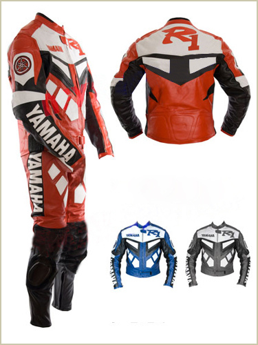 yamaha r1 red color motorcycle racing leather suit