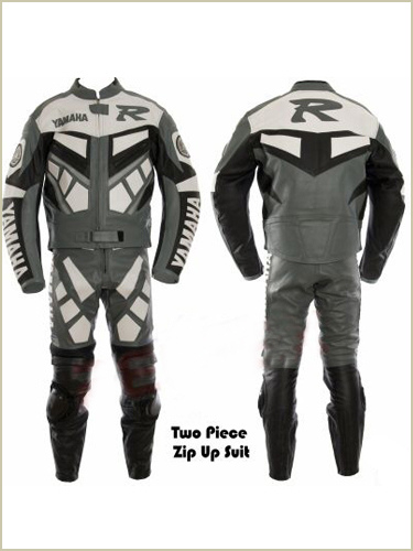 yamaha r racing motorcycle leather suit grey color